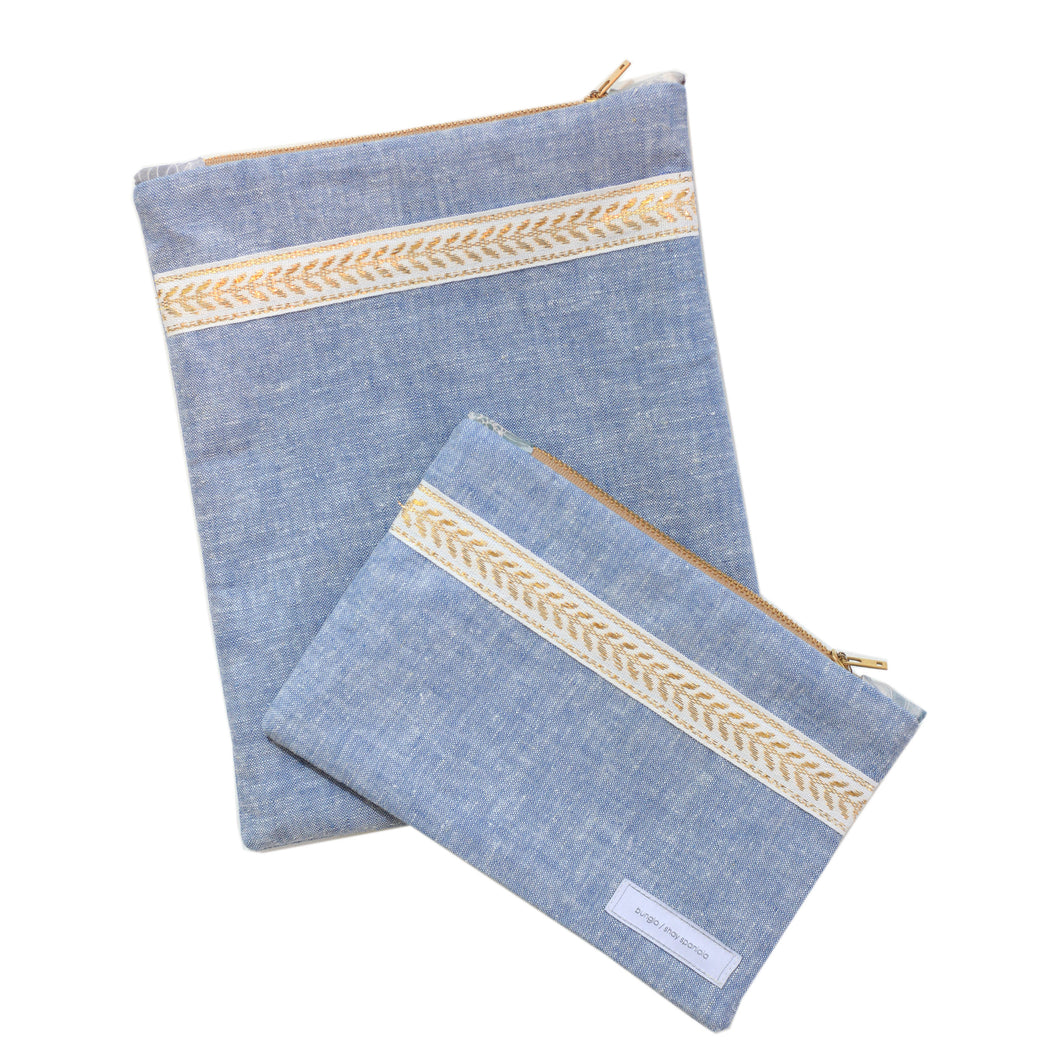 Large Mountain Flower Chambray Pouch