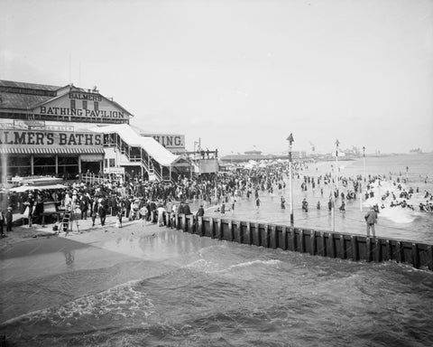 Balmers Bathing Beach Coney Island Vintage 8x10 Reprint Of Old Photo