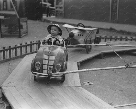 Car & Plane Amusement Ride 1940 Vintage 8x10 Reprint Of Old Photo