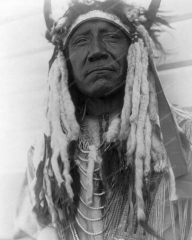 Cheyenne Indian With Bull Horns Vintage 8x10 Reprint Of Old Photo - Photoseeum