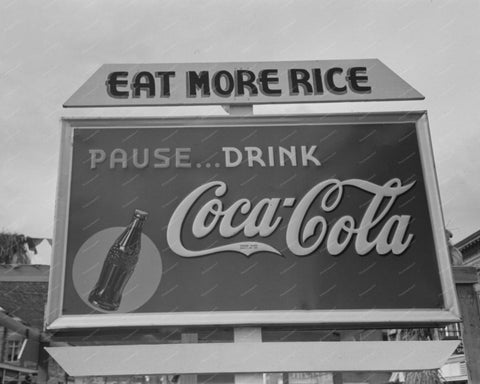 Eat More Rice Drink Coca Cola Sign 1938 8x10 Reprint Of Old Photo - Photoseeum