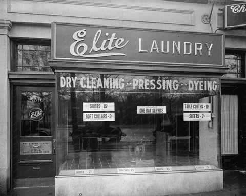 Elite Laundry Dry Cleaning 1928 Vintage 8x10 Reprint Of Old Photo