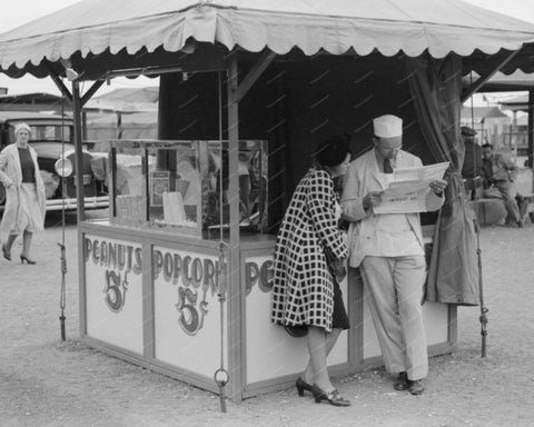 Fairground Pop Corn Stand 1939 Vintage 8x10 Reprint Of Old Photo