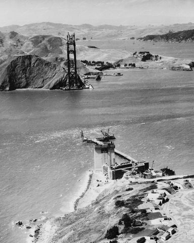Golden Gate Bridge Construction 8x10 Reprint Of Old Photo