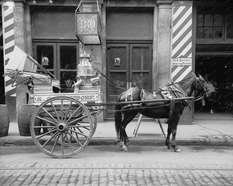 Horse Drawn Milk Cart 1910 Vintage 8x10 Reprint Of Old Photo