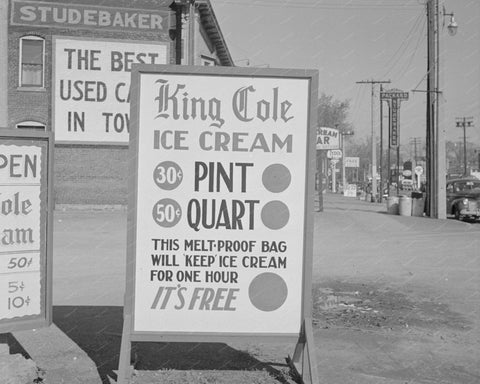 King Cole Ice Cream Store Sign 8x10 Reprint Of Old Photo - Photoseeum