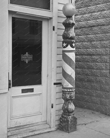 Lucky Tiger Barber Pole Vintage 8x10 Reprint Of Old Photo