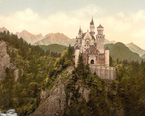 Neuschwanstein Upper Bavaria Germany 1890 8x10 Reprint Of Old Photo - Photoseeum