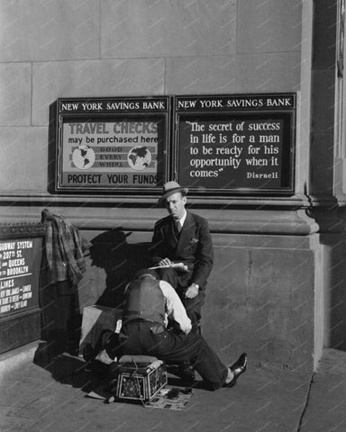 New York Savings Bank Shoe Shine Vintage 8x10 Reprint Of Old Photo