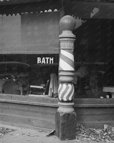 Old Style Barber Pole Vintage 8x10 Reprint Of Old Photo