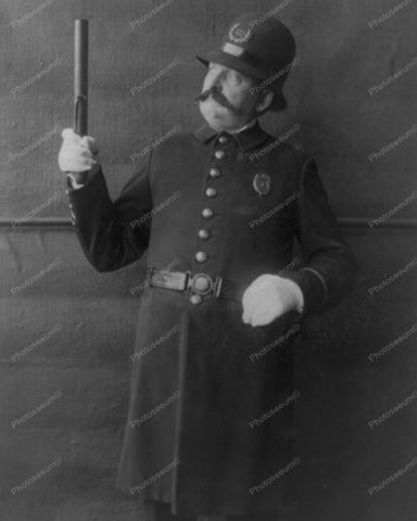 Policeman Holding A Night Stick 1909 Vintage 8x10 Reprint Of Old Photo - Photoseeum
