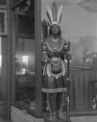 Wooden Indian Cigar Statue Vintage 8x10 Reprint Of Old Photo 1