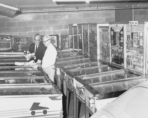 Police Inventory of Pinball Machines 8x10 Reprint Of Old Photo