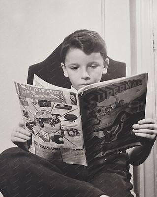Boy Reading Silver Age Superman DC Comic 1942 8x10 Reprint Of Old Photo