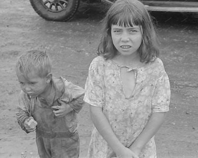 Brother & Sister Depression Era 1938 Vintage 8x10 Reprint Of Old Photo