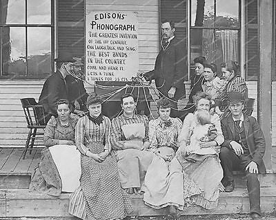 Edison Phonograph 1800's Multple Users Vintage 8x10 Reprint Of Old Photo