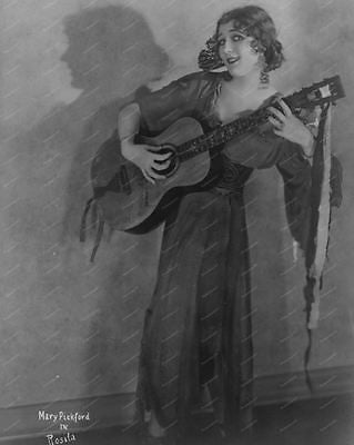 Mary Pickford Playing Guitar 1923 Vintage 8x10 Reprint Of Old Photo