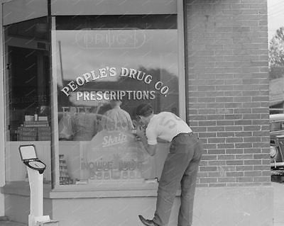 Penny Weight Scale Drug Store Window 1938 Vintage 8x10 Reprint Of Old Photo - Photoseeum