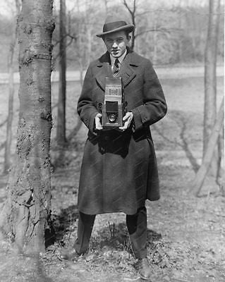 Photographer With Camera In Woods 1915 Vintage 8x10 Reprint Of Old Photo