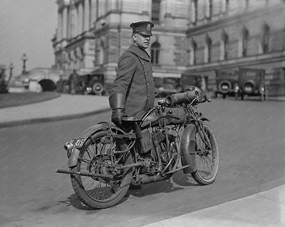 Policeman With Motorcycle From 1924 8x10 Reprint Of Old Photo