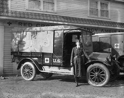 Red Cross Ambulance 1920 Vintage 8x10 Reprint Of Old Photo