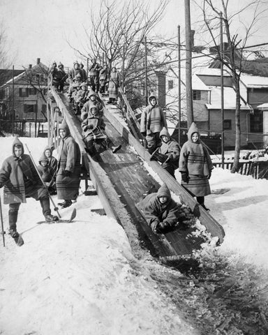 Sled Slide 1910 Vintage 8x10 Reprint Of Old Photo