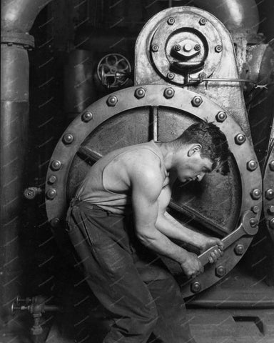 Steam Pump Worker 8x10 Reprint Of Old Photo
