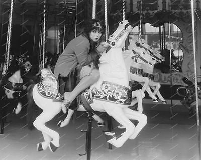 Carousel Rider Mustang Sally Vintage 8x10 Reprint Of Old Photo - Photoseeum