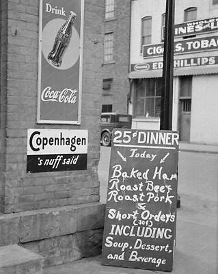 Coca Cola Sign 25 Cent Dinner Vintage 8x10 Reprint Of Old Photo - Photoseeum