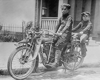 Indian Motorcycle Kids 1915 8x10 Reprint Of Old Photo