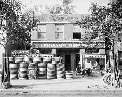 Lehmans Tire Shop 1922 Vintage 8x10 Reprint Of Old Photo - Photoseeum