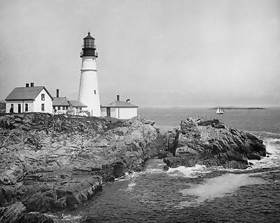 Light House Portland Maine1902 8x10 Reprint Of Old Photo