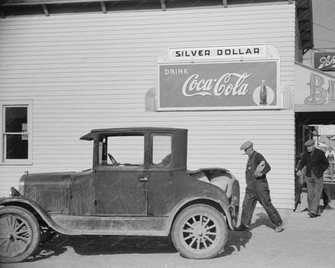 Silver Dollar Coca Cola Sign 1939 Vintage 8x10 Reprint Of Old Photo