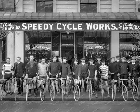 Speedy Cycle Works 1913 Bicycle Repair Shop Vintage 8x10 Reprint Of Old Photo