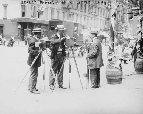 Three Camera Men Littly Italy NY Vintage 8x10 Reprint Of Old Photo