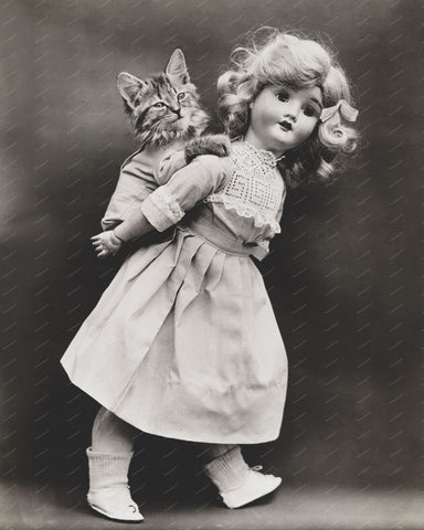 Toy Doll Gives Piggy Back To Kitten 8x10 Reprint Of Old Photo