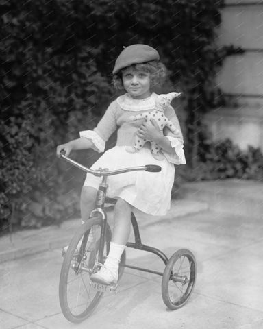 Tricycle Ride With Stuffed Clown 8x10 Reprint Of Old Photo