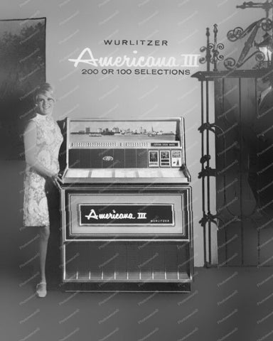 Wurlitzer Jukebox Model 3300 Americana III Vintage 8x10 Reprint Of Old Photo