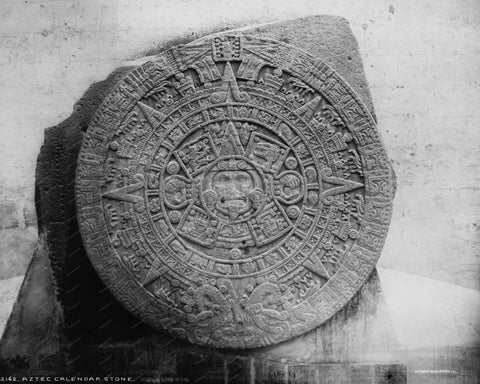 Aztec Calendar Stone 1880 Vintage 8x10 Reprint Of Old Photo
