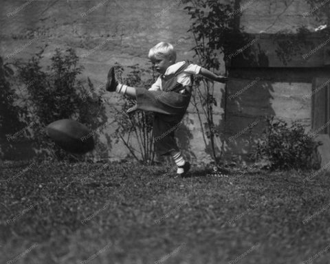 Boy Kicking Football 1916 Vintage 8x10 Reprint Of Old Photo - Photoseeum