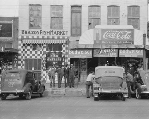 Brazo Fish Market Coca Cola Signs 1939 Vintage 8x10 Reprint Of Old Photo - Photoseeum
