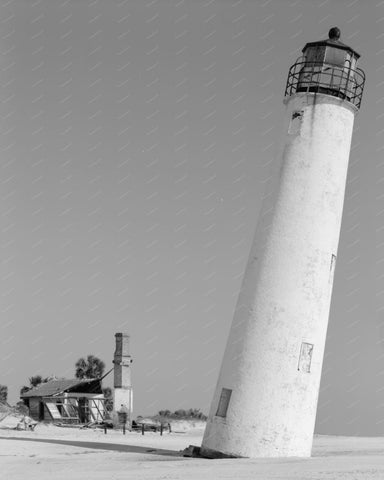 Cape St George Lighthouse Franklin County Vintage 8x10 Reprint Of Old Photo 1
