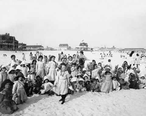 Children Rockaway Beach NY 1903 Vintage 8x10 Reprint Of Old Photo