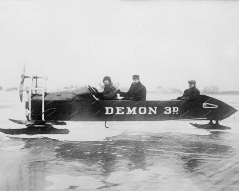 Demon 3D Racing 1915 Ice Sled Vintage 8x10 Reprint Of Old Photo