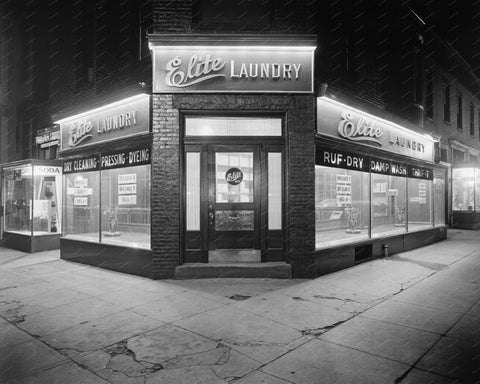Elite Laundry Front Entrance 1928 Vintage 8x10 Reprint Of Old Photo - Photoseeum