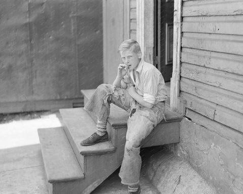 Farm Boy Smoking 8x10 Reprint Of Old Photo