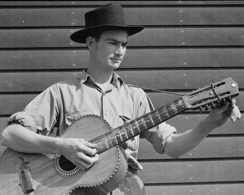 Farmer Playing Guitar 1942 Vintage 8x10 Reprint Of Old Photo - Photoseeum