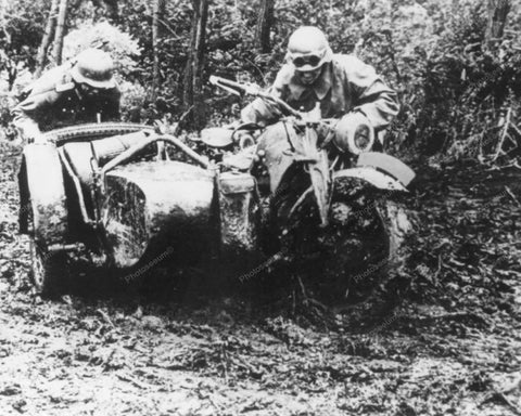 German Motorcycle Stuck in Swap Vintage 8x10 Reprint Of Old Photo