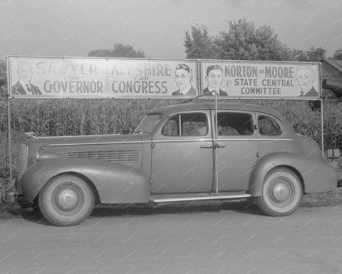 Governor Billboard Car 1938 Vintage 8x10 Reprint Of Old Photo - Photoseeum