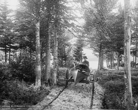 Hand Cart For Canoe 1902 Vintage 8x10 Reprint Of Old Photo - Photoseeum